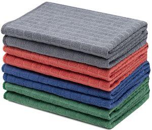 Geschirrtücher Mikrofaser ca. 40x40 cm, 8er Set, je 2x grau, blau, grün, rot