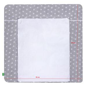 LULANDO Wickelauflage mit 2 abnehmbaren und wasserundurchlässigen Bezügen. Oberstoff 100 % Baumwolle. Passend u.a. für die Kommode IKEA Malm oder Hemnes, Farbe:White Stars / Pink, Größe:75x85 cm