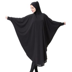 Damen Islamische Kleidung Abaya Dubai Kleid Robe Kleider Robe mit Muslim Hijab M Schwarz Batwing Solide