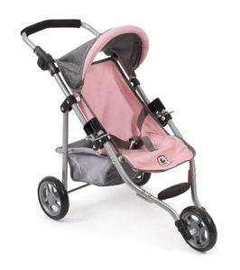 "Puppenwagen Jogging-Buggy ""Lola"" Melange grau-rosa"