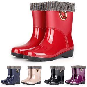 Damen Regenstiefel Gummi wasserdichte Stiefeletten sowie Fleece Freizeitschuhe,Farbe: Rot,Größe:40