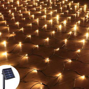 3x2M 204 LED Solar Lichternetz Lichtervorhang 8 Lichtmodi Außen Party Garten Lichterkette, Warmweiß