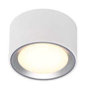 Nordlux LED Aufbauleuchte Fallon weiß Ring in Stahl-gebürstet 100 mm