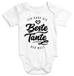 Kurzarm Baby Body Ich habe die beste Tante der Welt Spruch Geschenk Baumwolle Moonworks®  3-6 Monate