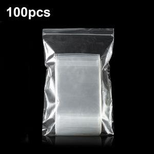 100 Stueck durchsichtige Poly-Druckverschlussbeutel Transparente wiederverschliessbare Beutel Selbstversiegelnde PP-Plastiktueten 5,1 Mil Dicke fuer Schmuck Kleidung Warengeschenk