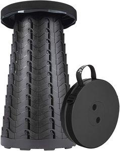 ONVAYA® Ausziehbarer Klapphocker | schwarz | Faltbarer & höhenverstellbarer Campinghocker | Mini Outdoor Hocker | Falthocker für Kinder & Erwachsene