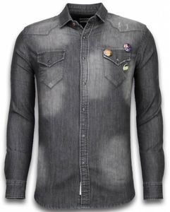Jeanshemd - Slim Fit Long Sleeve - Buttons - Grau - S