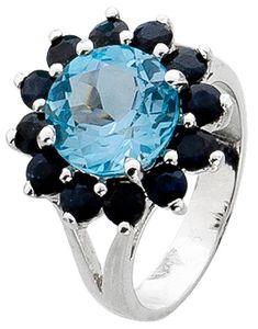 Damenring Blautopas Ring Silber 925 nachtblaue Saphire  18