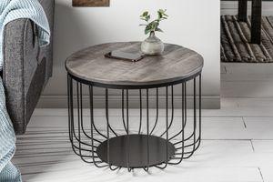 Industrial Design Couchtisch FACTORY LOFT 56cm grau Mango Massivholz Beistelltisch Wohnzimmertisch
