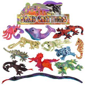 6x Sandtiere Tierfiguren Meerestiere Echsen Tiere Drachen Schlange Mitgebsel