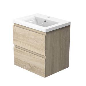 Badezimmer Badmöbel 50 cm Eiche CARMEN - Badezimmermöbel Vormontiert mit Waschtisch Unterschrank