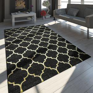 Orientteppich Modern 3D Effekt Marokkanisches Muster Schwarz Gold, Grösse:80x150 cm