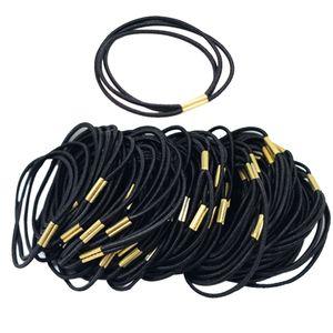 50pcs Schwarze Runde elastische Haargummis, Bänder, Strick, Pferdeschwanzhalter, Stirnband, Zopfband