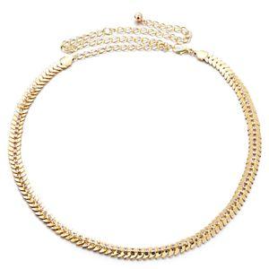 Mode frauen kristall strass gürtel metall perle kette gürtel 2 Gold