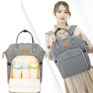 Hikeren Baby Wickelrucksack für Kinderwagen und Unterwegs, mit Wickelunterlage und 15 Taschen, Große Kapazität, Grau