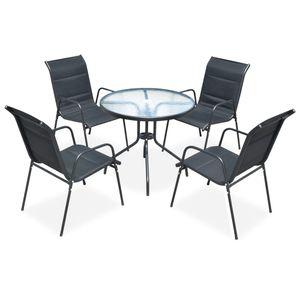 Hochwertigen Garten Sitzgruppe Gartengarnitur - 5-teiliges Outdoor-Essgarnitur Garten-Essgruppe Sitzgruppe Tisch + stuhl Stahl Schwarz☆9758