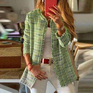 Frauen Regenbogen Tweed Plaid Quaste Jacke Oberbekleidung Strickjacke Mantel Mantel Größe:XXL,Farbe:Grün