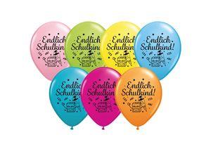 DeCoArt... SET 6 Luftballons Schulanfang Einschulung Endlich Schulkind farbig 28 cm Ballongas geeignet und 10 Ballonverschlüsse Polyband weiß