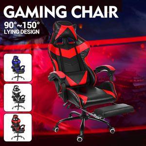 Bürostühle Gaming Racing Schreibtischstuhl Drehbar Verstellbar 150kg Chefsessel Bürostuhl mit Fußstütze Farbe: Rot DE Lager