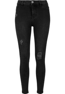 Urban Classics Damen Hose Ladies High Waist Skinny Denim Pants Black Washed-30