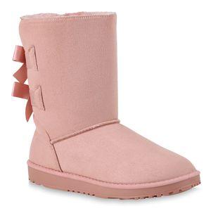 Mytrendshoe Damen Schlupfstiefel Warm Gefütterte Stiefel Schleife Winter Boots 824046, Farbe: Rosa, Größe: 38