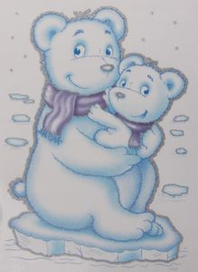 Fensterbild Eisbärenmutter mit Kind