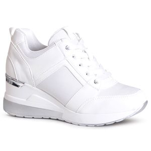 topschuhe24 1996 Damen Keilabsatz Sneaker Halbschuhe, Farbe:Weiß, Größe:36 EU