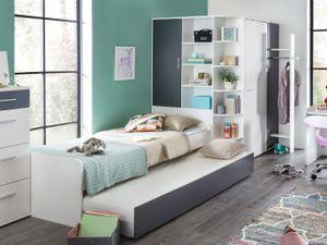 JugendzimmerJoker in Weiß und Graphit 3 teilig mit begehbaren Eckkleiderschrank