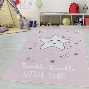 Teppium Kinderteppich, Kinderzimmerteppich, Motiv Baby Stern, Rechteckig PINK, Farbe:PINK,120 cm x 170 cm