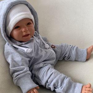 Baby Jungen Mädchen Strampler Overall Einteiler mit Kapuze Gr. 80 grau