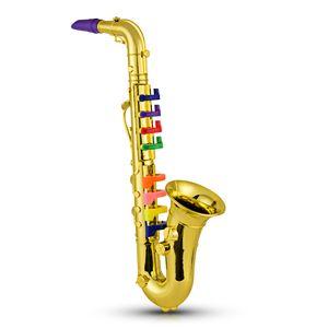 Saxophon Kids Musikalische Blasinstrumente ABS Metallic Gold Saxophon mit 8 farbigen Tasten