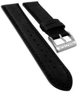 Nautica > Uhrenarmband 22mm Leder / Textil schwarz > Ton in Ton Naht
