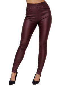Damen Leder Optik Skinny Jeans Treggings Coated Denim Jeggings Stretch Bund Kunstleder Hose Big Size, Farben:Rot, Größe:42