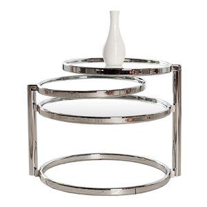 Design Couchtisch ART DECO III mit 3 Ebenen chrom Glas Wohnzimmertisch Sofatisch Beistelltisch