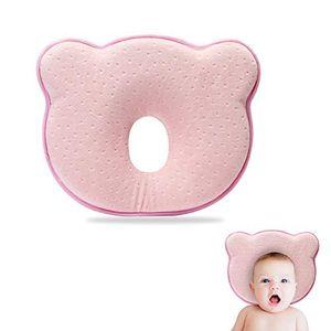 Baby Kissen,Babykissen gegen plattkopf,Orthopädisches Baby Kissen,Baby Memory Schaum Kissen,Kleines Babykopfkissen,0-24 Monate(Rosa)