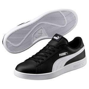 PUMA Schuhe klassische Herren Sneaker Turnschuhe Smash v2 L Schwarz, Größe:43