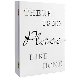 Wohaga Schlüsselkasten 'No Place Like Home' für 6 Schlüssel 22x7xH32cm - Weiß