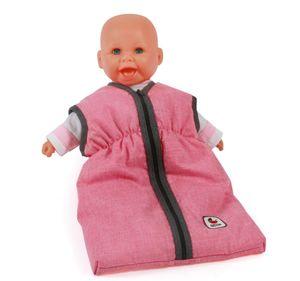 Puppen-Schlafsack, melange anthrazit-pink