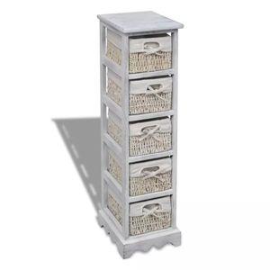 vidaXL Holz-Schränkchen mit 5 Flechtkörben Weiß