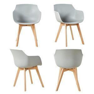 HJ 4er Set Sessel Skandinavisch Wohnzimmerstuhl Modern Esszimmerstühle mit solide Buchenholz Bein grau