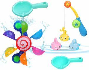 Badewannen Spielzeug, 7 Stück Badespielzeug Bad Angeln Spielzeug mit Schwimmenden Fisch, Wasserspielzeug im Badewanne für Baby und Kleinkinder, Badespaß ab 3 Jahre für Badewanne Dusche Pool