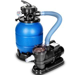 tillvex Sandfilteranlage mit Pumpe Blau Filteranlage Sandfilter Filterkessel Pool Filterpumpe Poolfilter