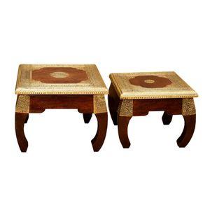 Casa Moro 2 orientalische Opiumtische Messing in den Größen S & M als 2er Set aus Massivholz Sheesham   MA5400