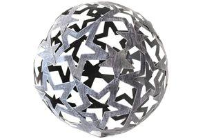 Deko Sternen Metallkugel mit Stern 24 cm grau-washed grau