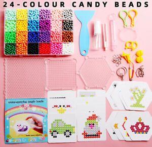 24Farbe Aqua Beads Glitzer Set Basteln Kinder Bastelset Glitzerperlen Perlen DIY