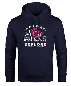 Hoodie Herren Norway Explore norwegische Flagge Norwegen Kapuzen-Pullover Männer Neverless® navy S