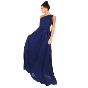 Krisp Damen One-Shoulder-Abendkleid, lang KP118 (44 DE) (Blau)
