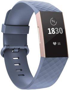 Fitbit Charge 3 Armband, Verstellbarer klassischer Sport Ersatzarmband Kompatibel mit Fitbit Charge 3/ Charge 3 SE (Kleine, Blaugrau)