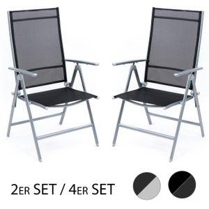 Set Klappstuhl Campingstuhl Hochlehner Gartenstuhl Aluminium Outdoor Klappsessel, Farbe:silber / 2er Set