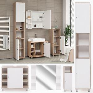 Badmöbel Set FYNN Weiß Eiche Sonoma -  Badezimmer Spiegel Waschtisch Kommode  Unterschrank Badschrank Badspiegel